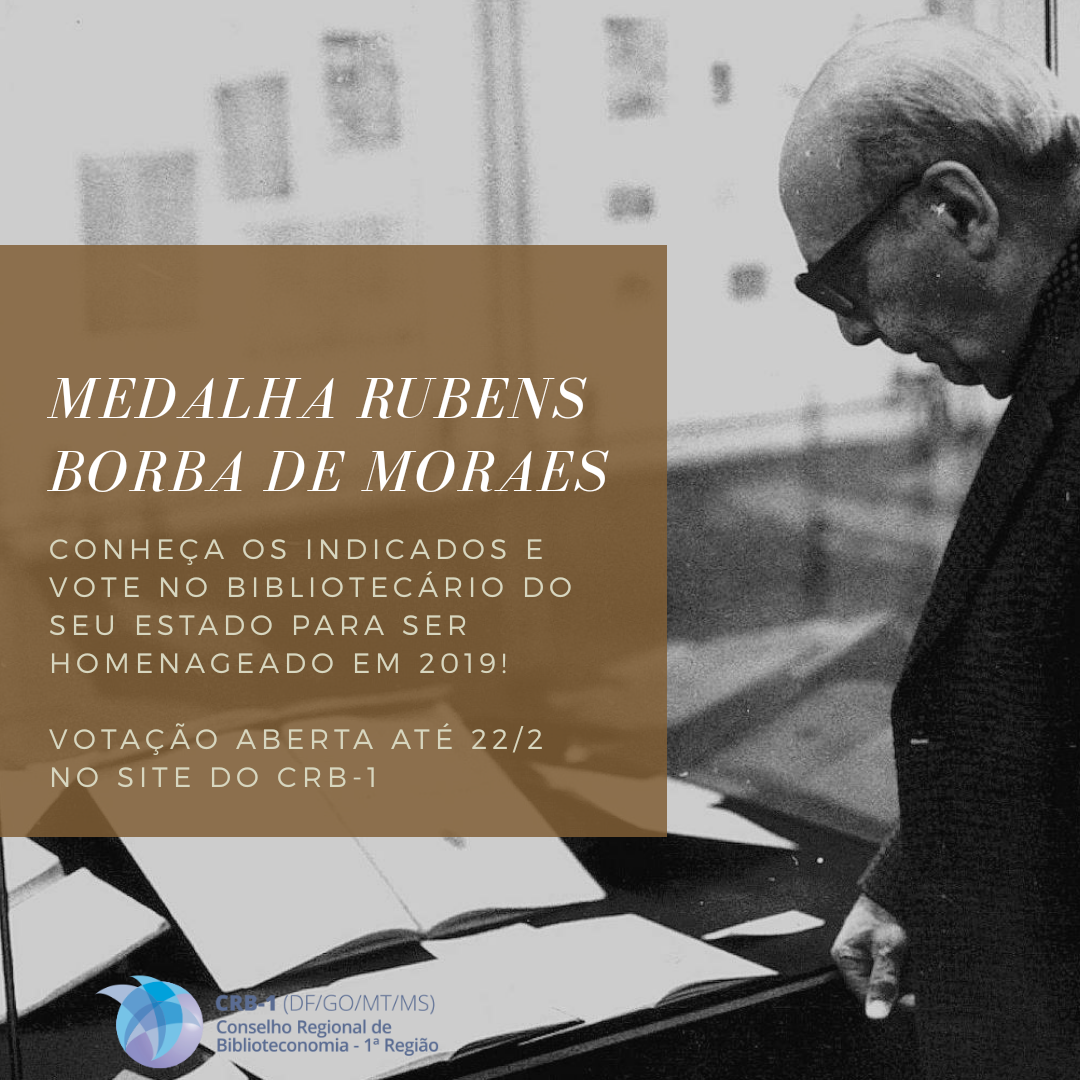 CRB-1 divulga indicados para a Medalha Rubens Borba de Moraes em 2019