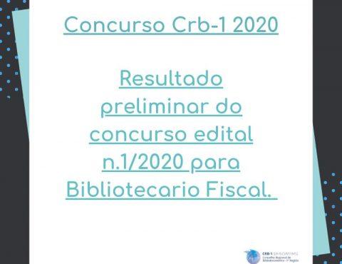 Resultado Preliminar do Concurso Edital nº 1/2020